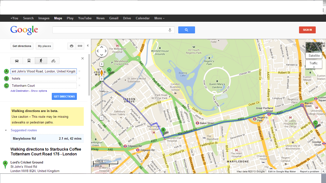 google maps: find a hotel on your route