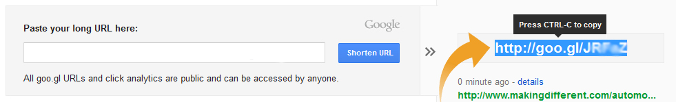 Copy Your Shorten URL