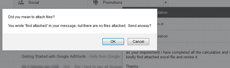 Gmail Knows what you missing while sending mail