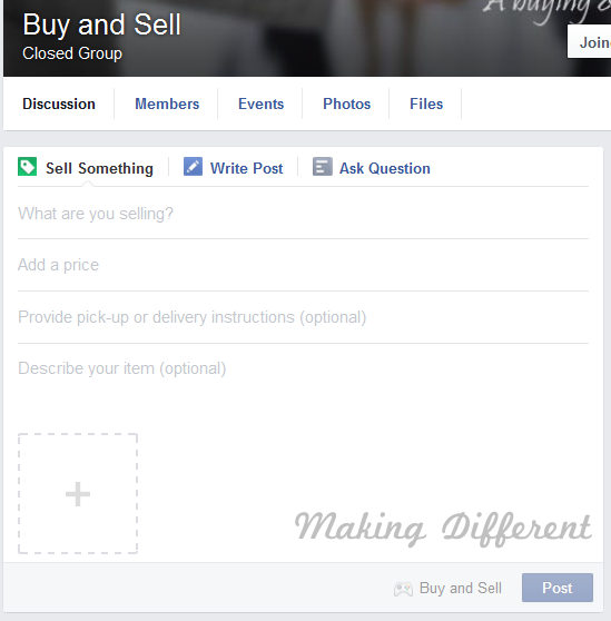 Facebook Sell Something Feature in Group