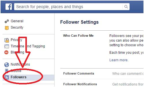 Facebook Followers Settings