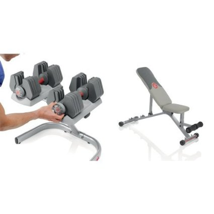 Universal Power-Pak 445 Adjustable Dumbbells with Stand and Bench