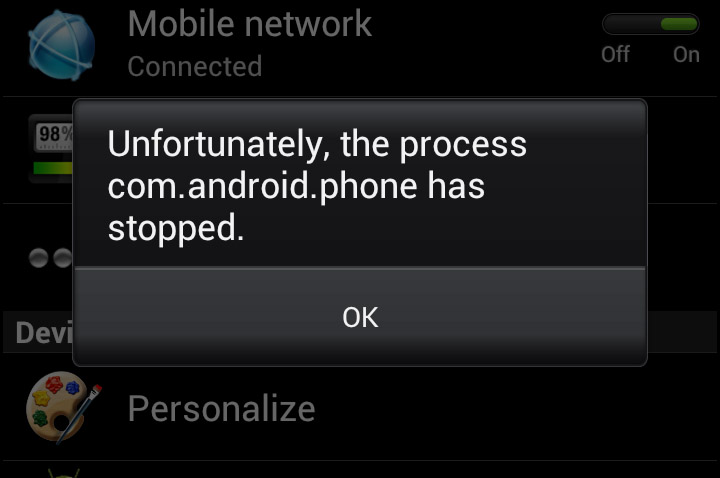 How to fix Unfortunately the process com.android.phone has Stopped on Android